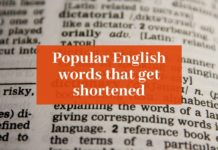 "Picture of an open dictionary with ""Popular English words that get shortened"" overlaid on it"