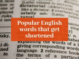 """Picture of an open dictionary with """"Popular English words that get shortened"""" overlaid on it"""