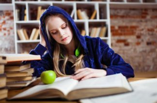 Photo of a girl studying