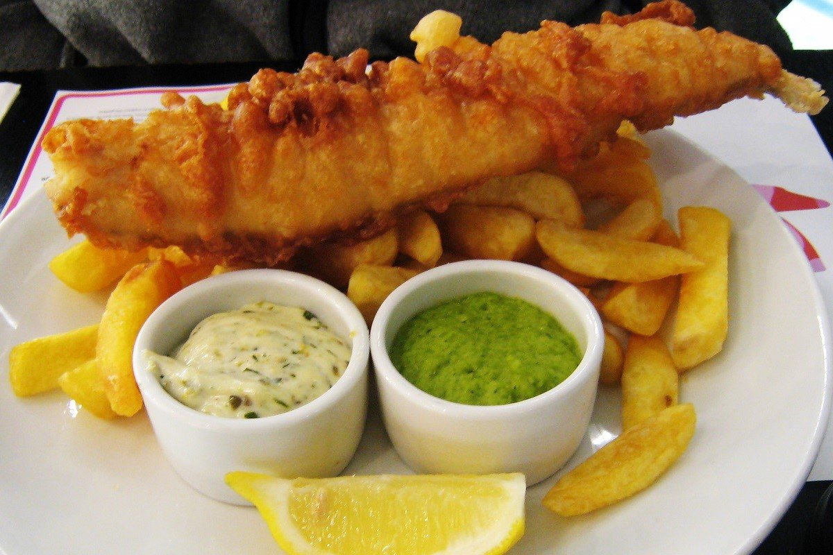 Photo of fish and chips and mushy peas