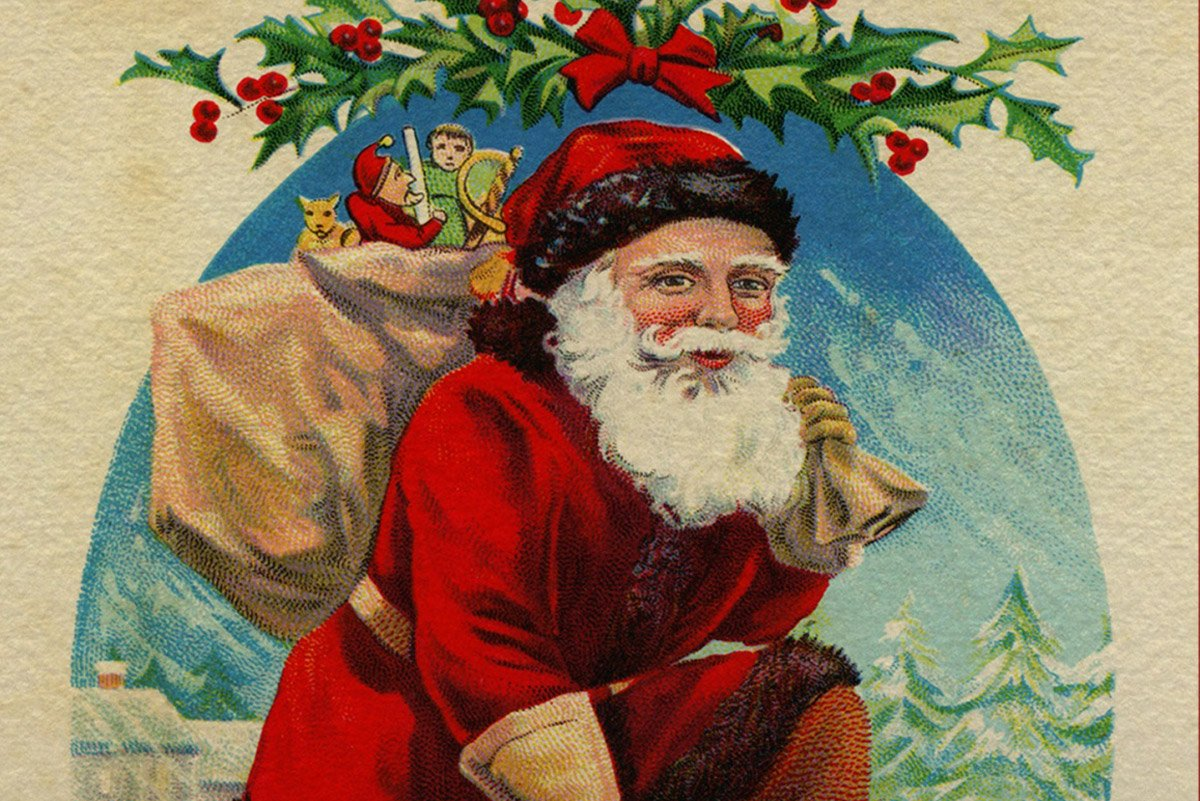 Victorian style Santa Claus on a Christmas card
