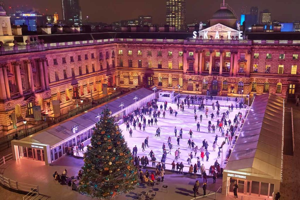 Somerset House in London is one of the best places to ice skate in the UK