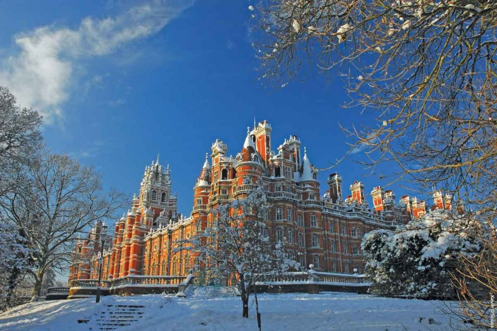 Royal Holloway campus covered in snow. The university is one of the most beautiful universities in Britain.