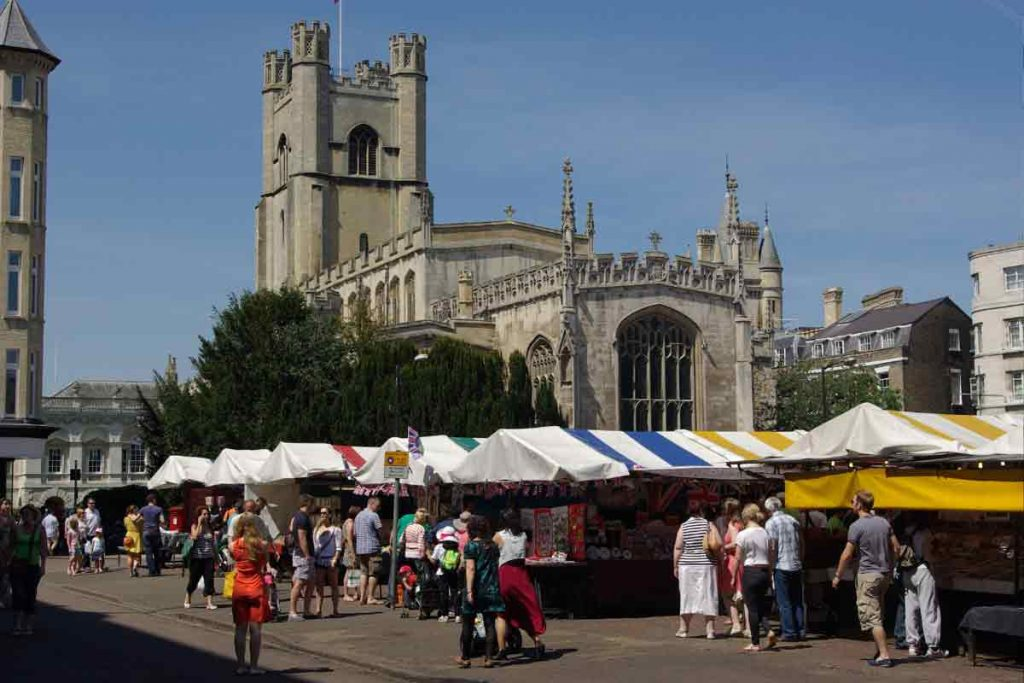 Cambridge has a market square that opens seven days a week.