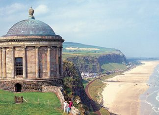 Mussenden Temple in Downhhill Beach. Another example of Britain in films and dramas is, parts of Northern Ireland have appeared in Game of Thrones.