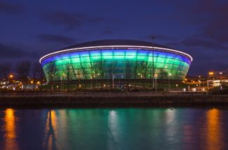 Photo of the SSE Hydro Arena in Glasgow at night