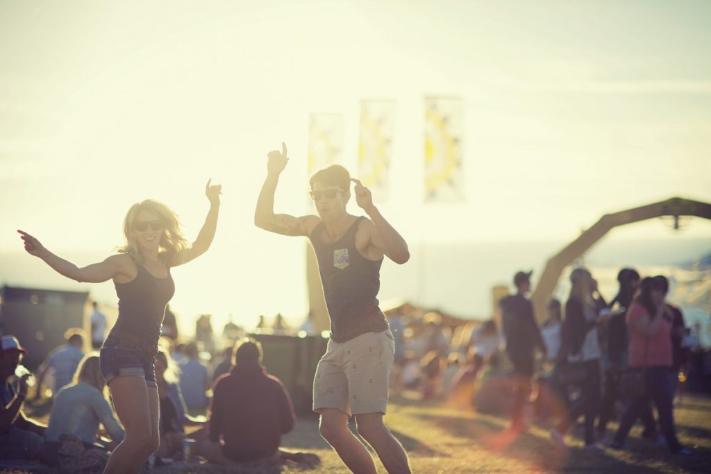 Photo of people dancing at Boardmasters Festival