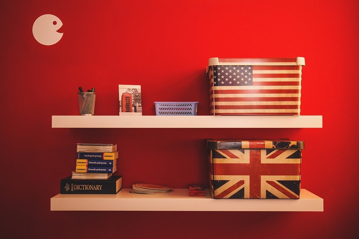 Photo of boxes decorated like UK and USA flags