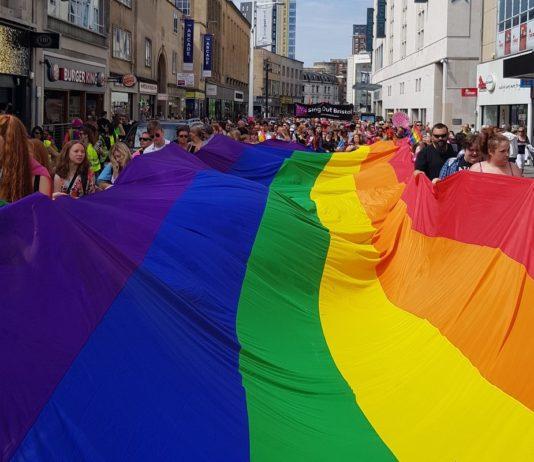 Photo of a massive rainbow flag