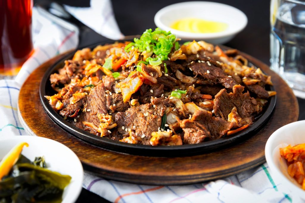 Chinese dish with beef and sesame seeds.