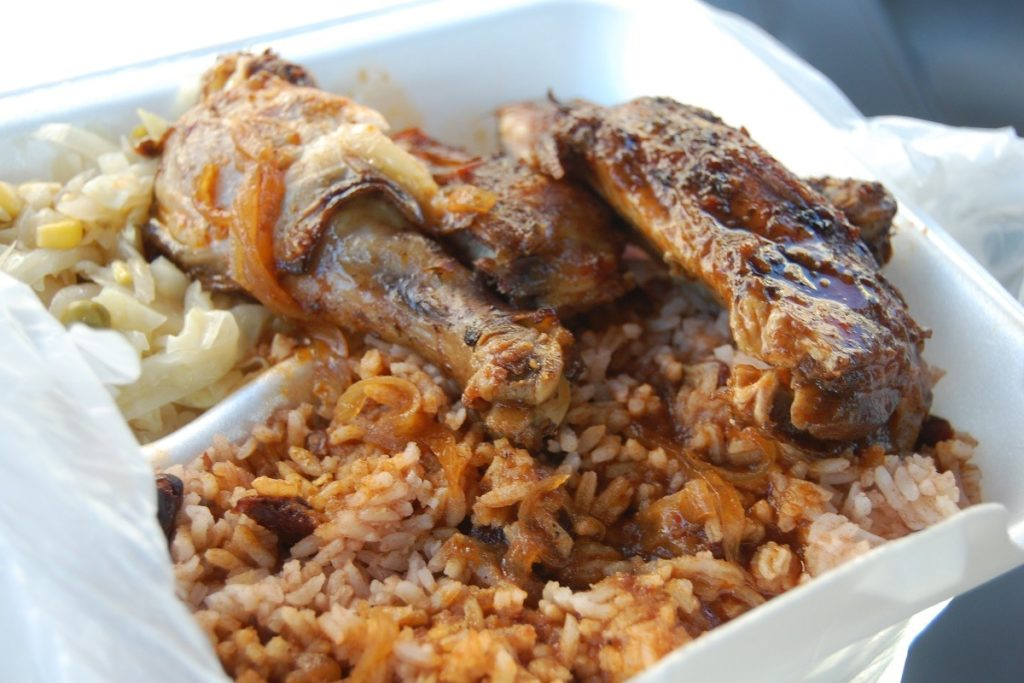 Jerk chicken with rice. Photo credit: Stu Spivack