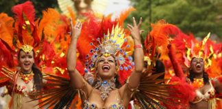 Photograph of dancers at Notting Hill Carnival, London