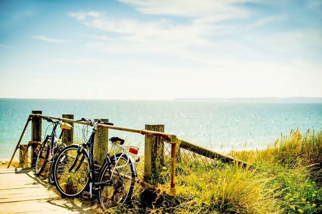 Photo of bicycles overlooking the beach in Bournemouth