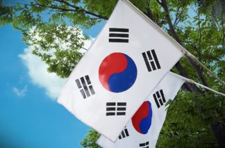 Photo of two South Korean flags
