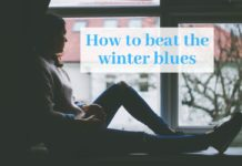 "Photo of a girl sitting by a window with text that says ""how to beat the winter blues"""