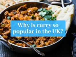 """Photo of curry with """"Why is curry so popular in the UK"""" superimposed over it"""