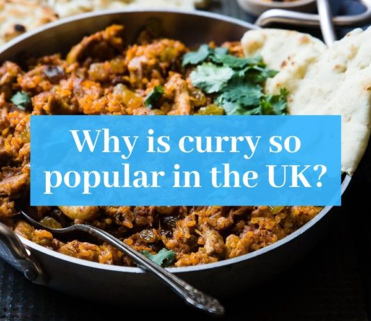 "Photo of curry with ""Why is curry so popular in the UK"" superimposed over it"