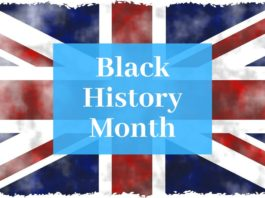 """Picture of the Union Jack with """"Black History Month"""" written on it"""
