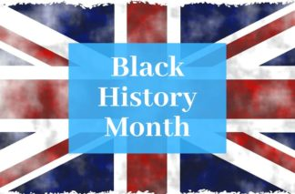"Picture of the Union Jack with ""Black History Month"" written on it"