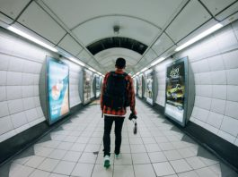 Student in London Tube station