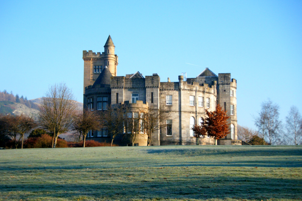 A view of Airthrey Castle on a frosty winter's day