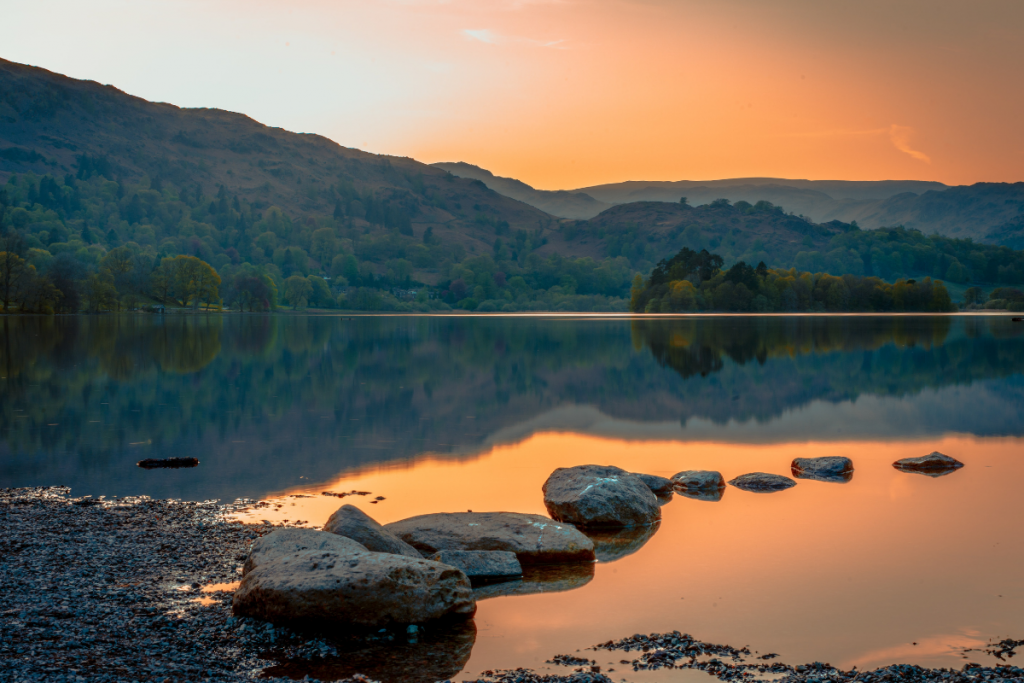 The lake district at sunset