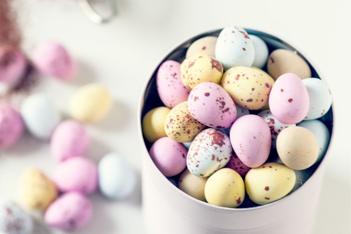 A bowl of colourful mini chocolate eggs for easter