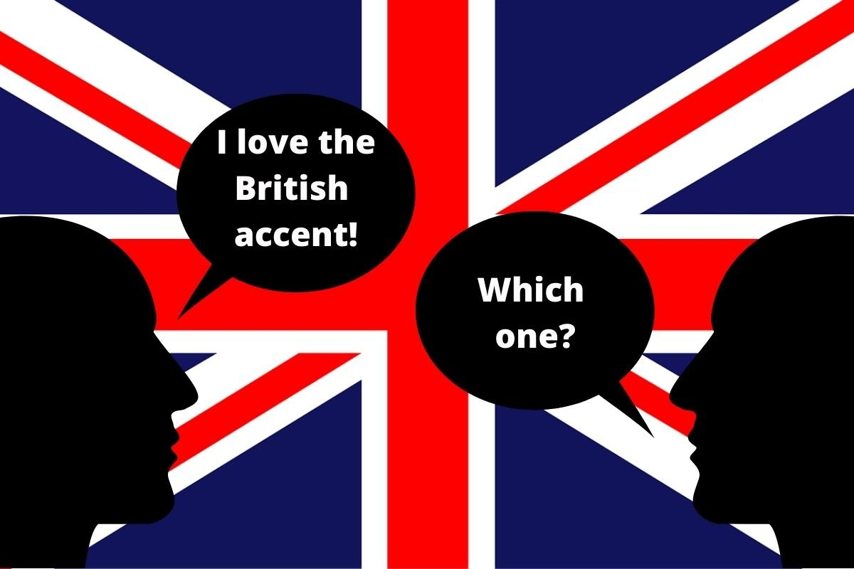 Union jack with two figures talking about the British Accent