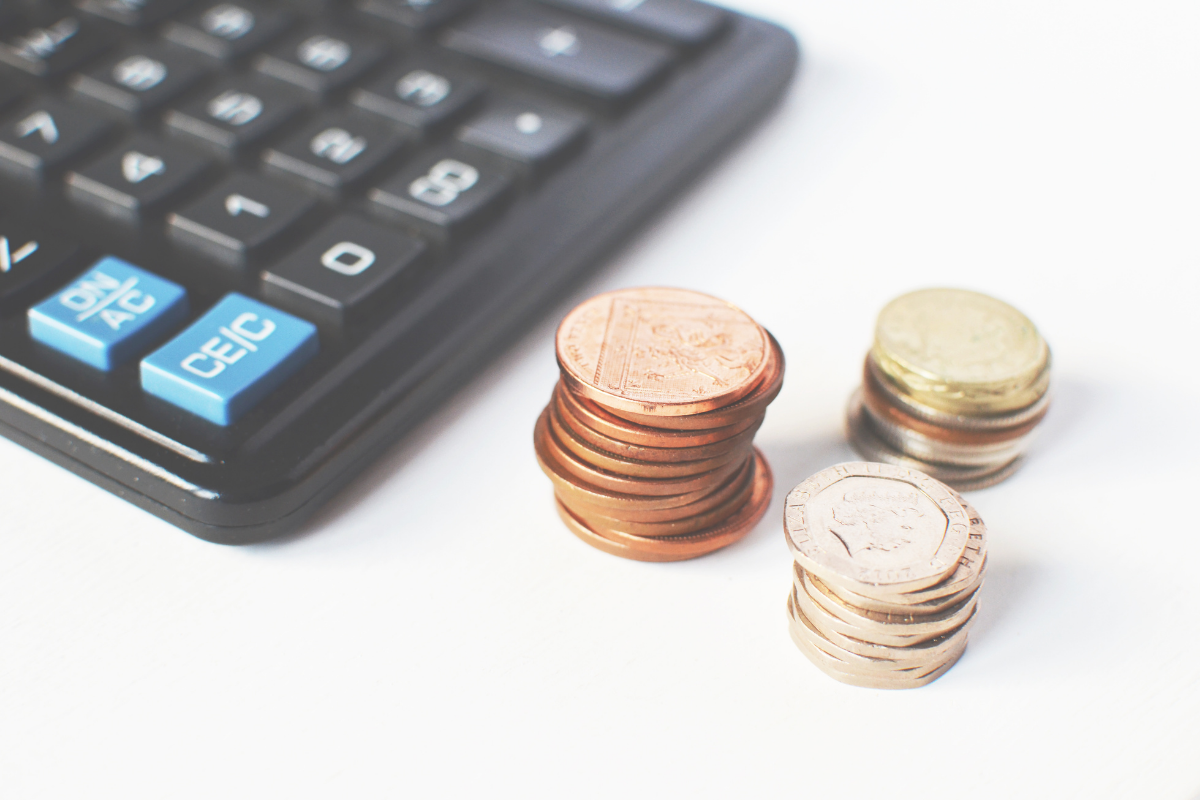 calculator and pound coins