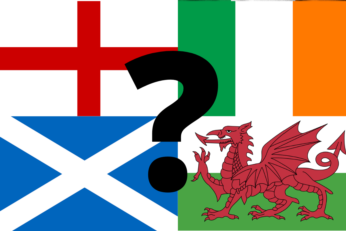 England, Ireland, Scotland and Wales flags