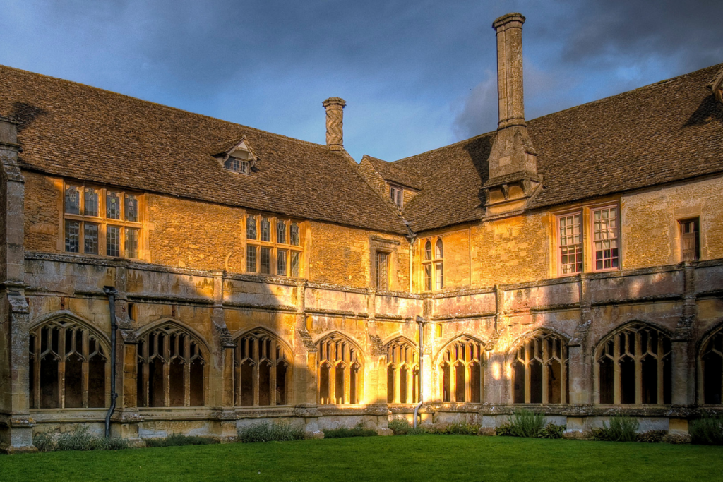 Lacock Abbey in Wiltshire at sunset