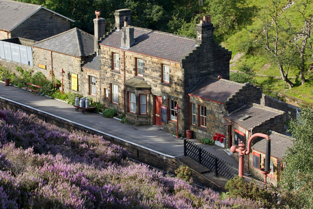 An aerial view of Goathland Train Station