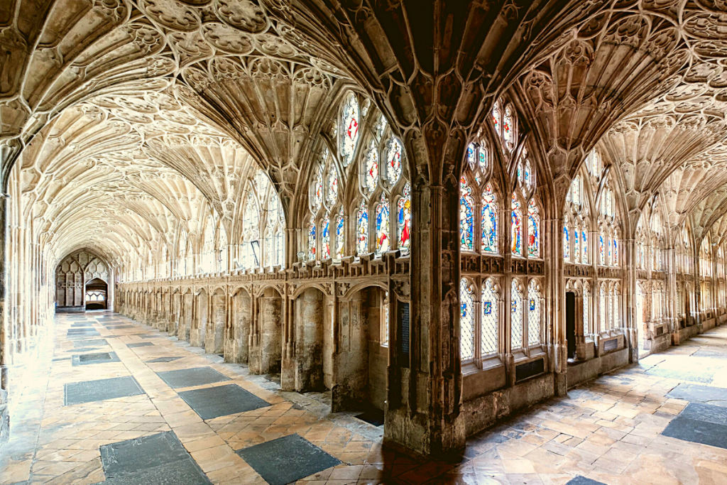 Inside the opulent cloisters at Gloucester Cathedral