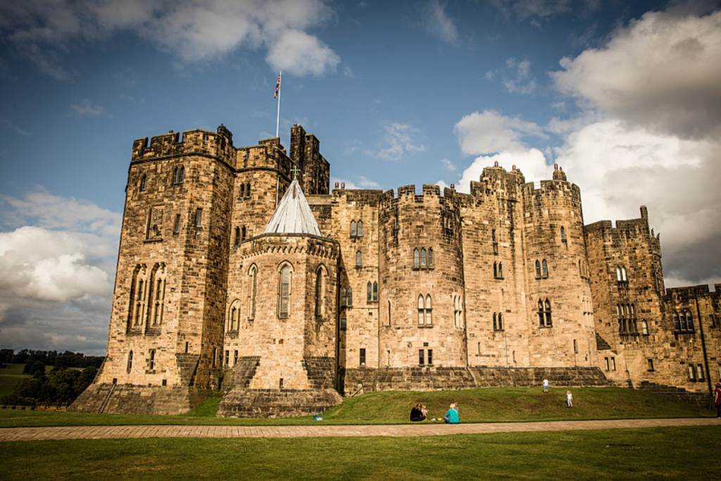 Exterior view of 11th century Alnwick Castle, Northumberland.