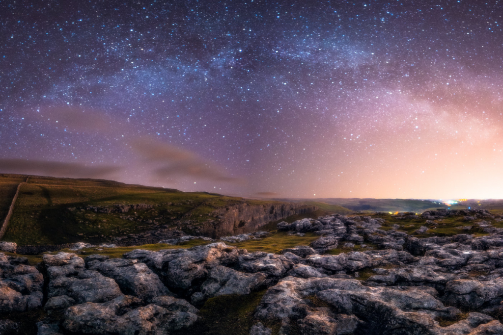 Rocky ground in the countryside at night time (Malham Cove)